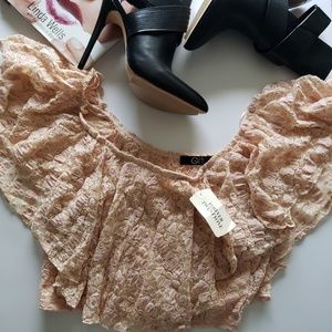 NWT! FOREVER 21 Pink/Peach Lace Knit Crop Top!